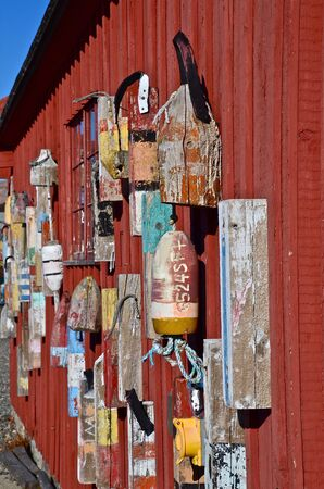 shack: Buoys on the wall of the fishing shack known as Motif One in Rockport, Massachusetts,