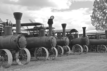 lineup: Lineup of old steam engines black and white