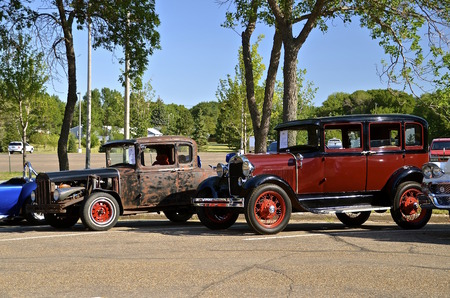 BISMARCK, NORTH DAKOTA, August 1,2015: Classic old Fords  displayed at the Fords and Mustangs of the Dakotas held annually at the Capital Afaire each first full weekend of August Editorial