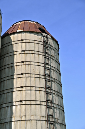 caged: A very old silo with a rusty roof and ladder without a cage