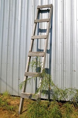 leans: Old wood ladder with boards as rungs leans against a metal building Stock Photo