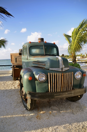 junked: An old antique full ton pickup truck is parked near some palm trees.