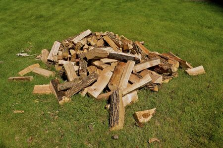 A pile of firewood is split and ready for usage.