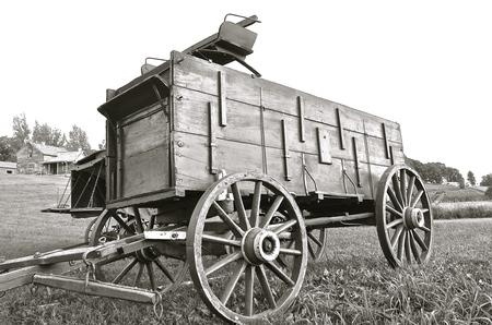 Old buckboard horse drawn wagon in black and white Stock Photo