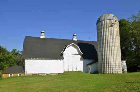 dairying: An old white barn in great condition and a ribbed silo bring back past dairying memories