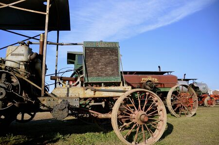 each year: ROLLAG, MINNESOTA-September 3, 2015: An old Russell steam powered  tractor is displayed at the West Central Steam Threshers Reunion(WCSTR) where 1000s attend each Labor Day weekend in Rollag, MN each year.