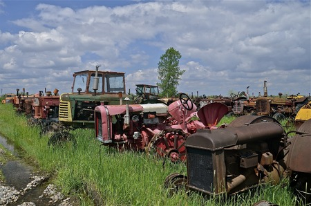 lugs: Various old models of worn out tractors line-up at a salvage and junkyard.