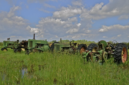 john deere: June 2, 2014: Old John Deere tractors are lined up in a junkyard and long grass  grass are a product of John Deere Co, an American corporation that manufactures agricultural, construction, forestry machinery, diesel engines, and drivetrains