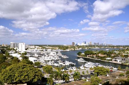 Luchtfoto van Fort Lauderdale stad en intercoastal waterweg, in Florida. Stockfoto