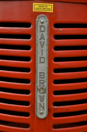 david brown: ROLLAG, MINNESOTA-September 3, 2015: A grill from an old David Brown tractor, a company from Great Britain now specializes in engineering and is principally engaged in the manufacture of gears and gearboxes.