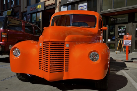 street rod: FARGO, NORTH DAKOTA, June 1, 2016: The converted �46 International pickup converted into a street rod in downtown Fargo where �Cruising Broadway happens every first first  Thursday night of the month  from June through September where old c