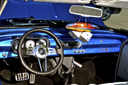 chevy: FARGO, NORTH DAKOTA, June 1, 2016: The dash of a 1962 Nova GT Chevy is displayed in downtown Fargo where �Cruising Broadway happens every first first  Thursday night of the month  from June through September where old cars are featured.
