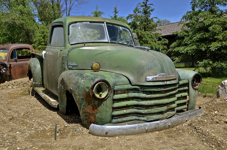 HAWLEY, MINNESOTA, June 6, 2016:  The old pickup from the 40s is a Chevrolet, colloquially referred to as Chevy and formally the Chevrolet Division of General Motors Company, is an American automobile division of the American manufacturer General Motors Redakční