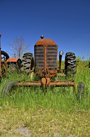 BARNESVILLE, MINNESOTA, June 15, 2016: The Massey Fergus tractor name disappeared when a merger of Massey Harris and the Ferguson Company farm machinery manufacturer occurred in 1953. Editorial