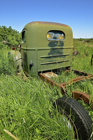 An old green truck from the 50s era is left parked  in long grass  and exposes the chassis, cab, and one tire.
