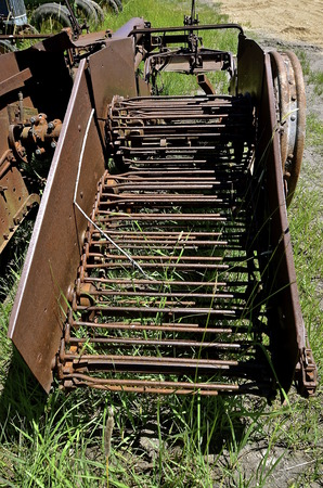 spud: A very old potato digger chain used to extract the spuds out of the ground