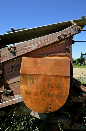 shredder machine: BARNESVILLE, MINNESOTA, June 19, 2016: The Rosenthal Corn HuskerShredder was invented by August Rosenthal near Reedsburg, Wis., and in 1894 the machine was on the market as the Milwaukee company existed until the 1950�s.