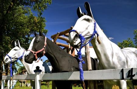 fiberglass: Three bridled fiberglass horses lean over a wooden fence