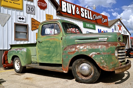 MOORHEAD, MINNESOTA, May 22, 2014: The front and grill of the classic 1950 Ford is a product of the Ford Motor Company located in Dearborn, Michigan started by Henry Ford and incorporated on June 16, 1903