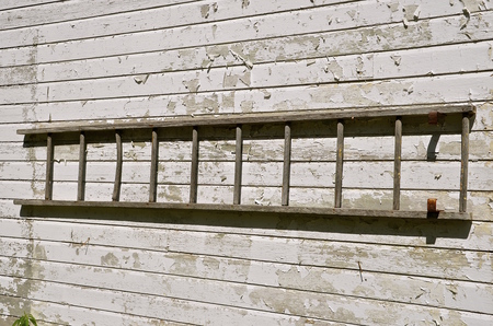rickety: An old wooden ladder is stored horizontally on the wall of a white painted peeling  shed.