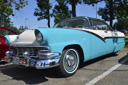 restoring: BISMARCK, NORTH DAKOTA, August 6, 2016: The Capital Afair in Bismarck features the Fords and Mustangs car show which this 1956 Victoria is displayed. Editorial