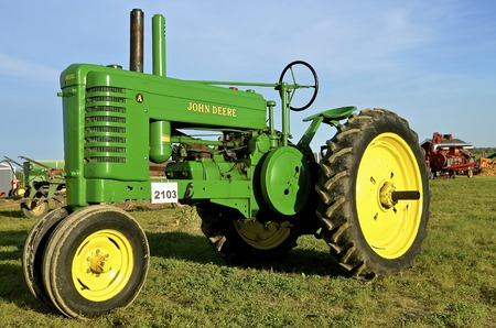 ROLLAG, MINNESOTA, Sept 1, 2016: An old restored John Deere A tractor is displayed at the West Central Steam Threshers Reunion(WCSTR) where 1000s attend each Labor Day weekend in Rollag, MN each year. Editorial