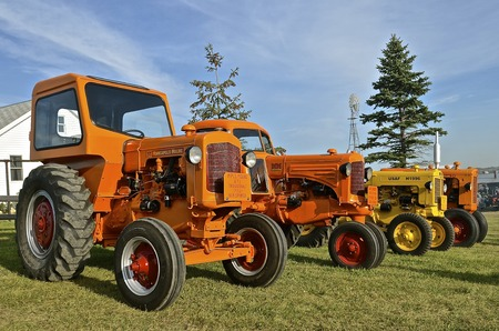 mn: ROLLAG, MINNESOTA, Sept 1, 2016: Minneapolis Moline tractors are parked at the West Central Steam Threshers Reunion(WCSTR) where 1000s attend each Labor Day weekend in Rollag, MN each year. Editorial