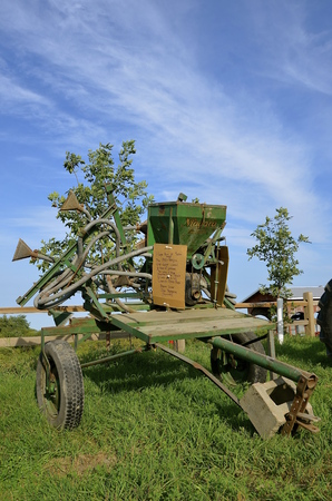 ROLLAG, MINNESOTA, Sept 1, 2016: A Niagara, crop duster for controlling potato bugs is displayed at the West Central Steam Threshers Reunion(WCSTR) where 1000s attend each Labor Day weekend in Rollag, MN each year. Editorial