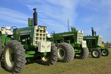 ROLLAG, MINNESOTA, Sept 1:  Restored  Oliver tractors 170, 1950, and 1955 are displayed at the West Central Steam Threshers Reunion(WCSTR) where 1000s attend each Labor Day weekend in Rollag, MN each year.