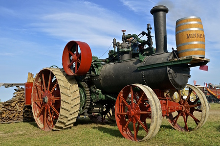 ROLLAG, MINNESOTA, Sept 1. 2016: The Minneapolis steam engine is a featured line of farm equipment at the West Central Steam Threshers Reunion in Rollag, MN.