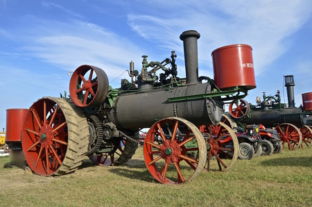 engine powered: ROLLAG, MINNESOTA, Sept 1. 2016: The Minneapolis steam engine is a featured line of farm equipment at the West Central Steam Threshers Reunion in Rollag, MN.