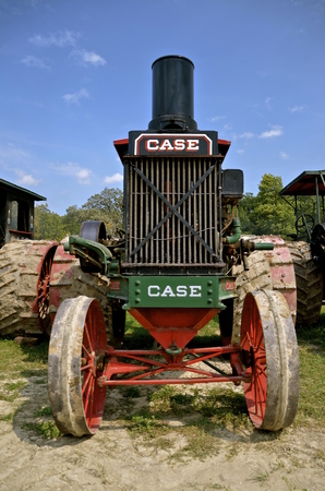 ROLLAG, MINNESOTA, Sept 1. 2016: The old historical Case steam engine is a ine of farm equipment at the West Central Steam Threshers Reunion in Rollag, MN attended by 1000s held annually on Labor Day weekend.