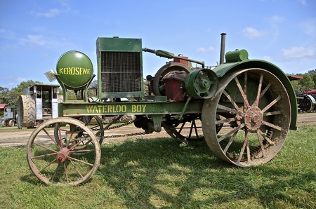 ROLLAG, MINNESOTA, Sept 1. 2016: The historic Waterloo Boy tractor by John Deere is displayed at the West Central Steam Threshers Reunion in Rollag, MN attended by 1000s held annually on Labor Day weekend. Editorial