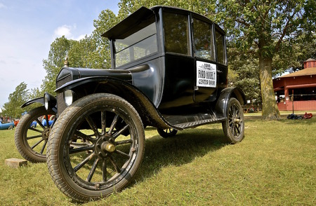 ROLLAG, MINNESOTA, Sept 1. 2016: A 1922 Ford Center Door Model T is displayed at the West Central Steam Threshers Reunion in Rollag, MN attended by 1000s held annually on Labor Day weekend.
