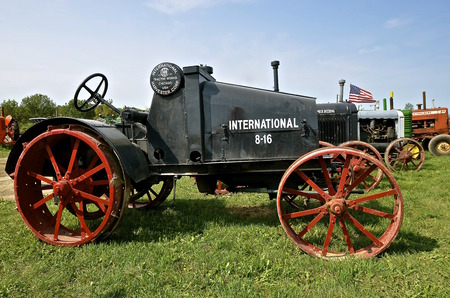 ROLLAG, MINNESOTA, Sept 1. 2016: An International 8-16 antique tractor by IHC  is displayed at the West Central Steam Threshers Reunion in Rollag, MN attended by 1000s held annually on Labor Day weekend. Editorial