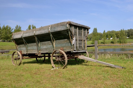 old wood farm wagon: An old wooden wheel wagon with steel wheels used for hauling  small grains and corn