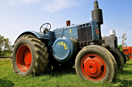 ROLLAG, MINNESOTA, Sept 1. 2016: The Lanz Bulldog was a tractor manufactured by Heinrich Lanz AG in Mannheim, Baden-W������¼rttemberg, Germany and purchased by John Deere in 1956.