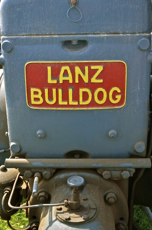ROLLAG, MINNESOTA, Sept 1. 2016: The Lanz Bulldog was a tractor manufactured by Heinrich Lanz AG in Mannheim, Baden-Württemberg, Germany and purchased by John Deere in 1956. Editorial