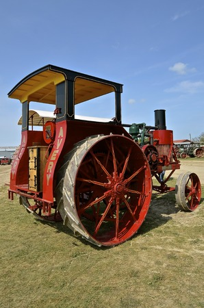 ROLLAG, MINNESOTA, Sept 1. 2016: A restored Avery Company tractor is displayed at the annual WCSTR farm show in Rollag held each Labor Day weekend where 1000s attend.