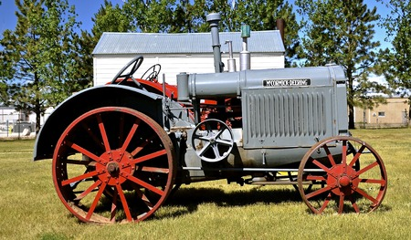 WATFORD CITY, NORTH DAKOTA, June 23, 2016: A vintage McCormick Deering  tractor is displayed at the Watford City Pioneer Museum which is open and free to the public. Editorial