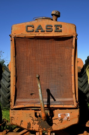 BARNESVILLE, NORTH DAKOTA-September 26, 2016:   The tractor grill is from the Case Corporation which  was a manufacturer of construction equipment and agricultural equipment, founded by Jerome I. Case, it existed for over 150 years.