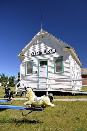 schoolhouse: WATFORD CITY, NORTH DAKOTA, June 23, 2016: The old Nelson one room school is preserved and displayed at the Watford City Pioneer Museum which is open and free to the public. Editorial