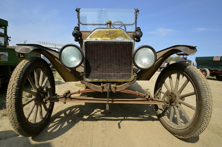 ROLLAG, MINNESOTA, Sept 1. 2016: A restored Ford Model T vintage car is displayed at the annual WCSTR farm show in Rollag held each Labor Day weekend where 1000s attend. Editorial