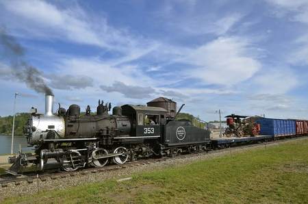 operational: ROLLAG, MINNESOTA, Sept 1. 2016: A restored old locomotive train  is displayed and operational at the annual WCSTR farm show in Rollag held each Labor Day weekend where 1000s attend.