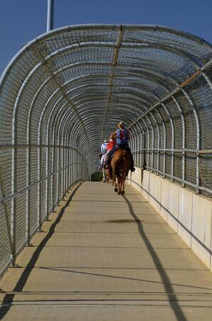 Unidentified riders travel over an enclosed walking bridge on horseback