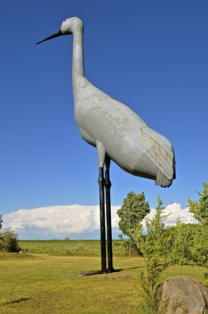 The world`s largest sandhill crane located in the city park of Steel, North, Dakota Stock Photo
