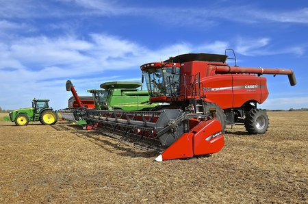 SHELDON, NORTH DAKOTA, September 29, 21016: The self propelled combine 7010 AFS, a product of Case IH became part of J.I. Case Company, and then CNH Industrial.
