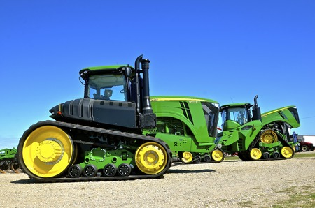WEST FARGO, NORTH DAKOTA, September 13, 2016:  The new 9570RT JohnDeere tractor is being displayed at the West Fargo Big Iron Farm Show, a display of modern farm and agricultural equipment held at the Red River Valley Fairgrounds each 2nd week of Septembe
