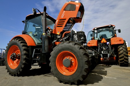 WEST FARGO, NORTH DAKOTA, September 13, 2016. A new Kubota M7-171 Premium tractor is displayed at the Big Iron Farm Show held annually at the Red River Fairgrounds each September.