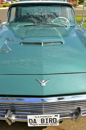 thunderbird: BISMARCK, NORTH DAKOTA, August 6, 2016: The Capital AFair in Bismarck features the Fords and Mustangs car show where the grill and hood of a restored Thunderbird Ford is displayed.